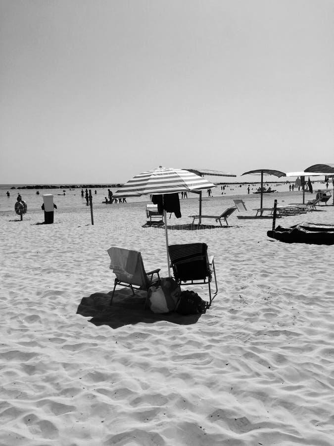 Strandliv - strandparaply - svartvitt sommarliv - arkivbilder