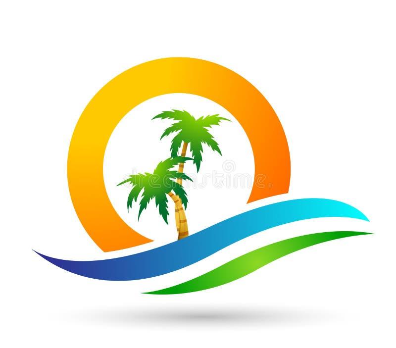 Strandlogo-Wasserwelle Hoteltourismusfeiertagssommerstrandkokosnuss-Palme-Vektorlogoentwurf K?stenikone auf wei?em Hintergrund lizenzfreie abbildung