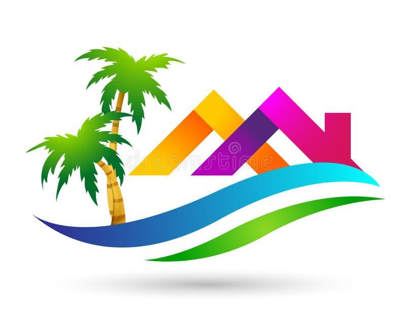 Strandlogo-Wasserwelle Hoteltourismusfeiertagssommerstrandkokosnuss-Palme-Vektorlogoentwurf K?stenikone auf wei?em Hintergrund vektor abbildung