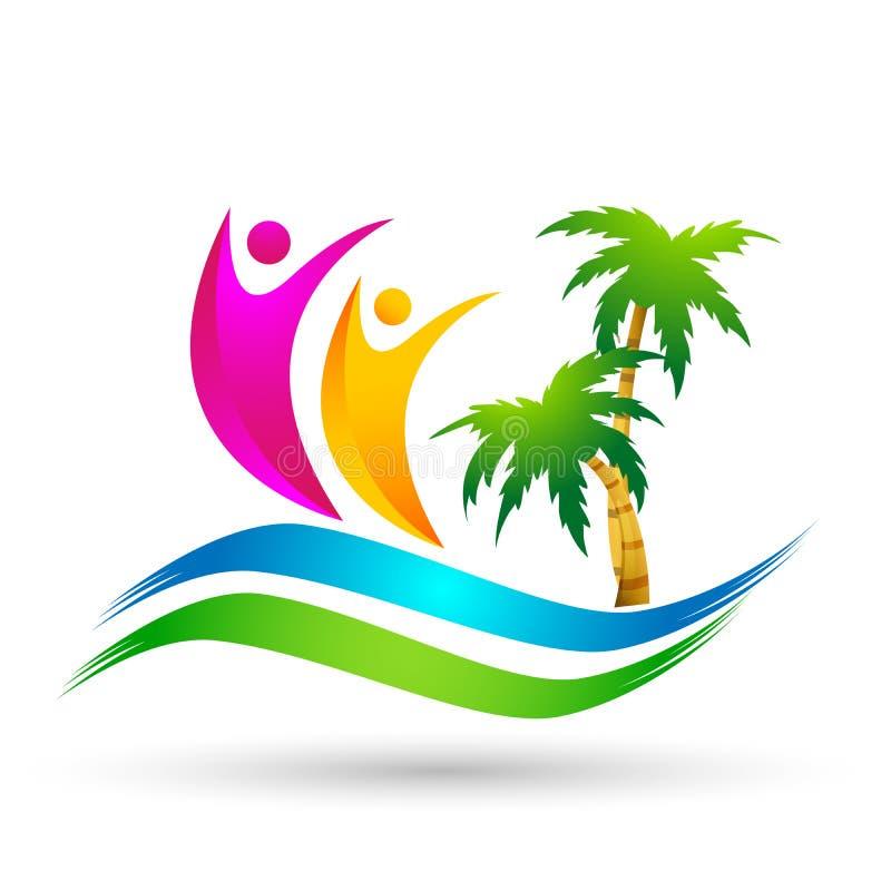 Strandlogo-Wasserwellen-Palme-Kokosnuss Hoteltourismusfeiertagssommerstrandvektorlogoentwurf Küstenikone auf weißem Hintergrund stock abbildung