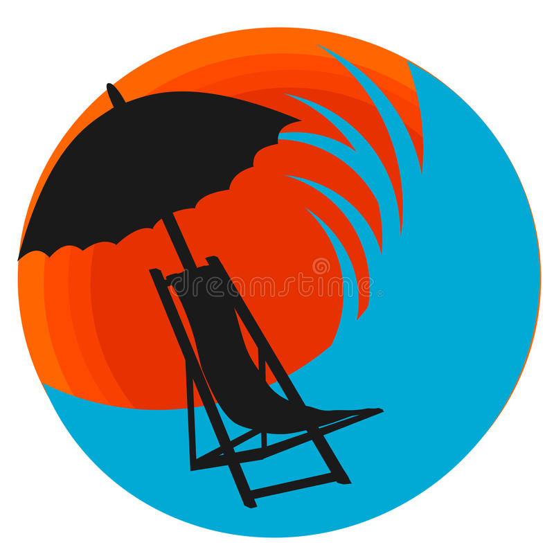 Strandlogovektor vektor illustrationer
