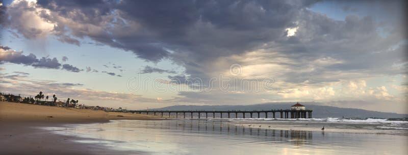 strandmanhattan panorama- pir royaltyfria foton