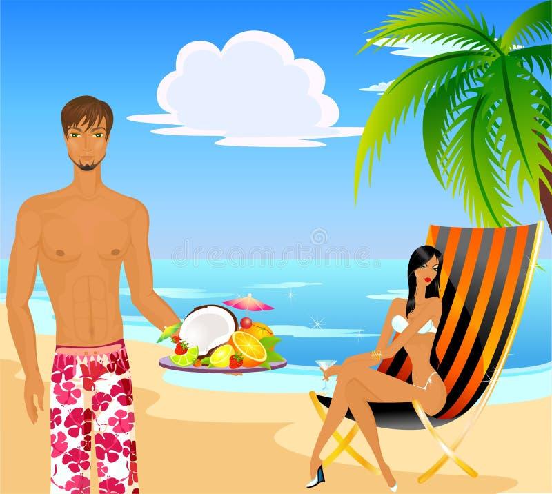 strandmankvinna stock illustrationer