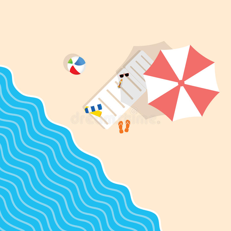 Strandmateriaal met deckchair en de illustratie van de parapluvrije tijd stock illustratie