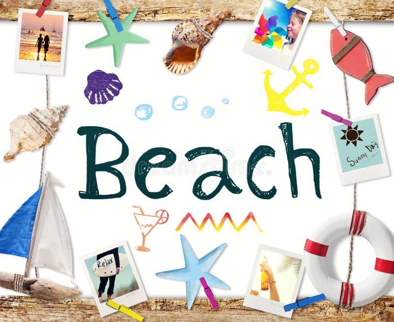 Strandord på Whiteboard med sommarobjekt och foto arkivfoton