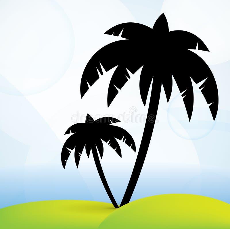 strandpalmträd stock illustrationer