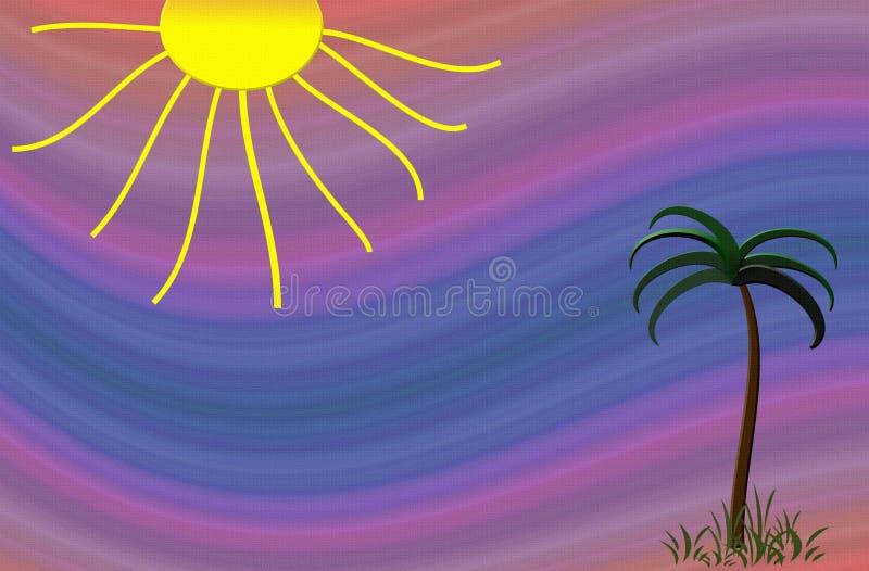 strandpalmträd royaltyfri illustrationer