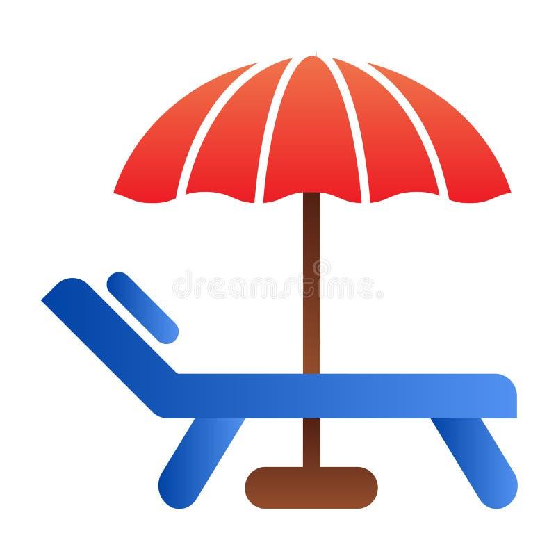 Strandparaplu en stoel vlak pictogram De pictogrammen van de vakantiekleur in in vlakke stijl Het de stijlontwerp van de reisgrad royalty-vrije illustratie
