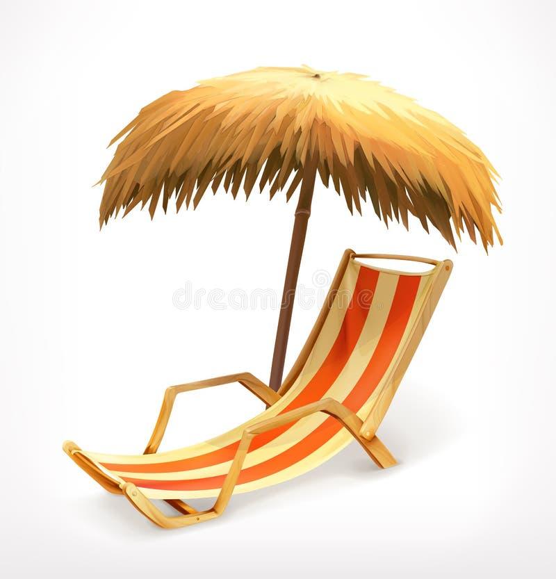 Strandparaplu en zitkamerstoel stock illustratie