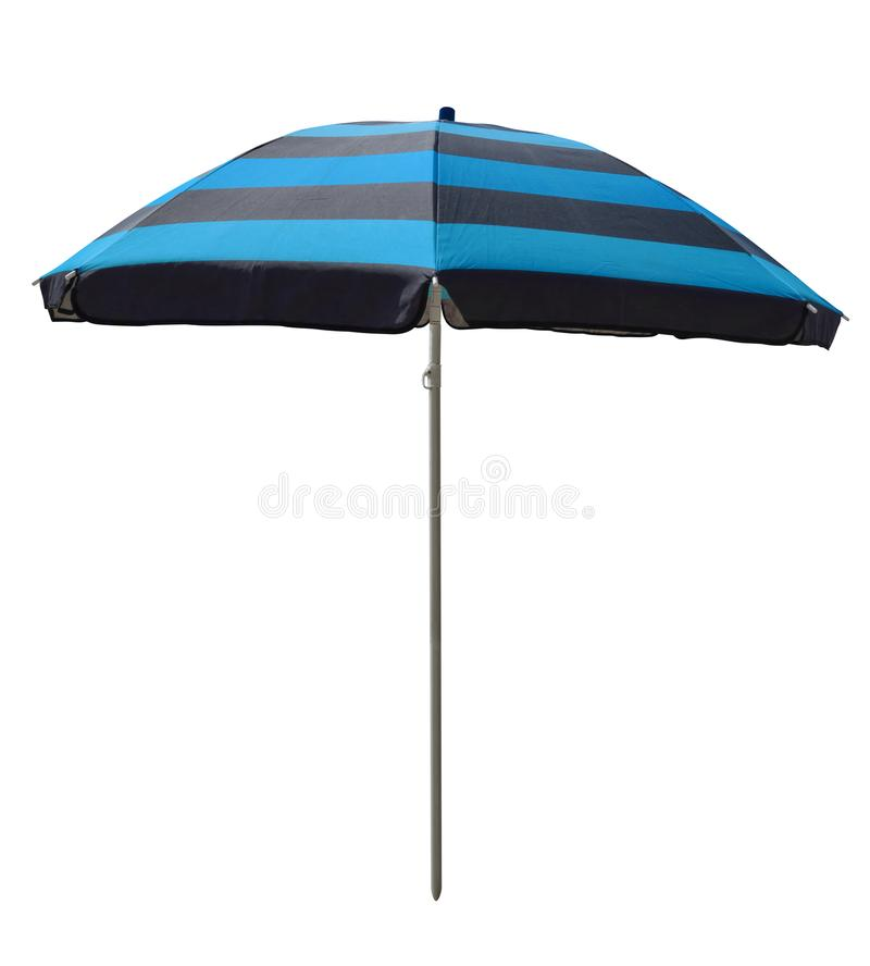 Strandparaplu - gestreepte blauw-Zwarte stock foto