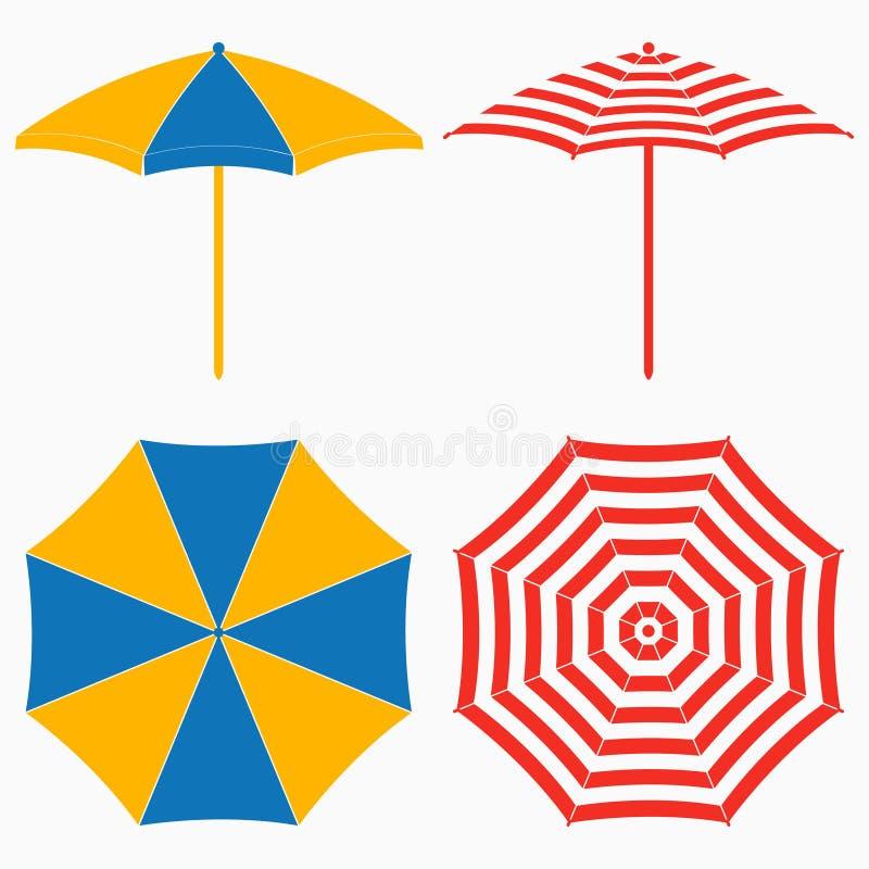 Strandparaplu, hoogste en zijaanzicht De reeks van gestreepte zon parasols plaatste Vector royalty-vrije illustratie