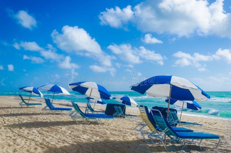 Strandparaplu's bij het strand van ochtendmiami stock afbeeldingen