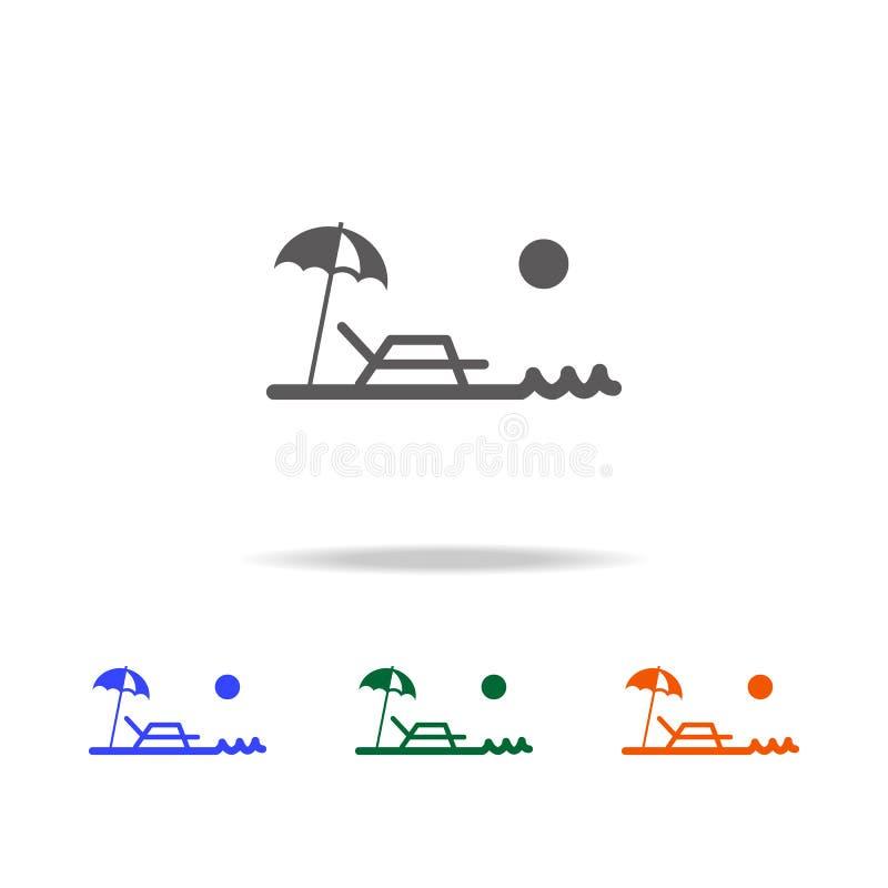 Strandparaply och soldagdrivaresymbol Beståndsdelen av stranden semestrar mång- kulöra symboler för mobilt begrepp och rengörings vektor illustrationer