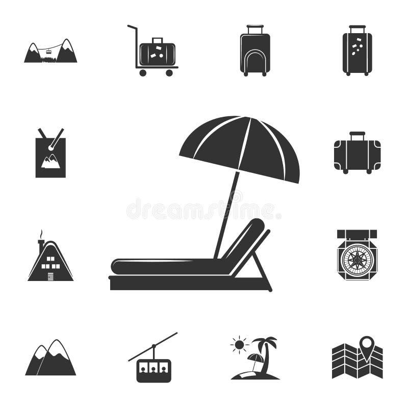 Strandparaply och soldagdrivaresymbol Detaljerad uppsättning av loppsymboler Högvärdig grafisk design En av samlingssymbolerna fö royaltyfri illustrationer