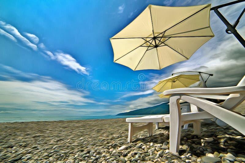 Strandparaplyer och chaise-vardagsrum på stranden stock illustrationer