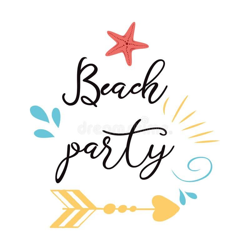 strandpartij Modern kalligrafisch T-shirtontwerp met van de overzeese van de de vakantiedruk van Sumer sterpijl het etiketaffiche royalty-vrije illustratie