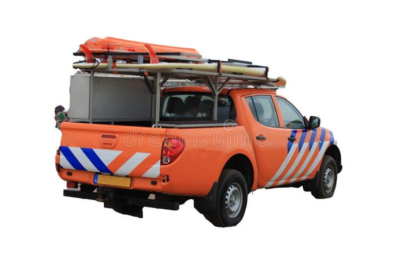 Strandpatrull- eller livräddarelastbil på den vita bakgrunden royaltyfria bilder
