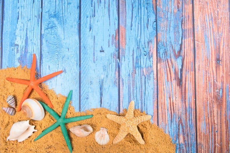 Strandplakat mit Starfishes lizenzfreies stockbild