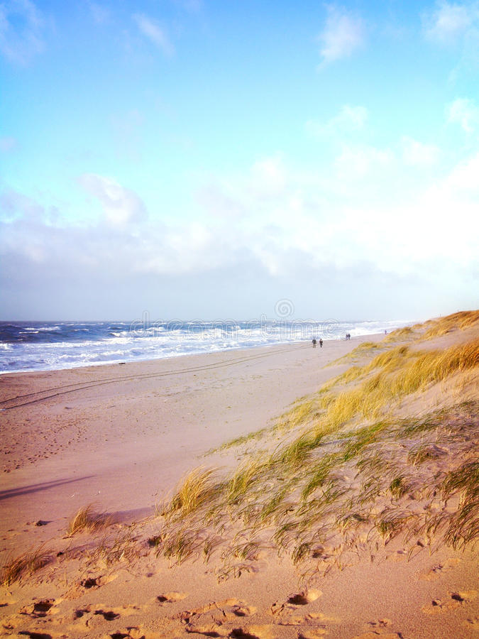 Strandplats med folk som promenerar stranden royaltyfria bilder