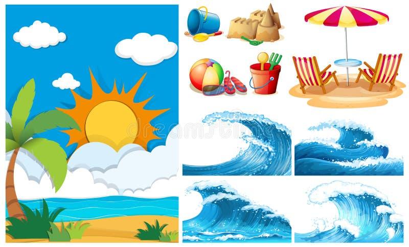 Strandplats med stora vågor och utrustningar royaltyfri illustrationer