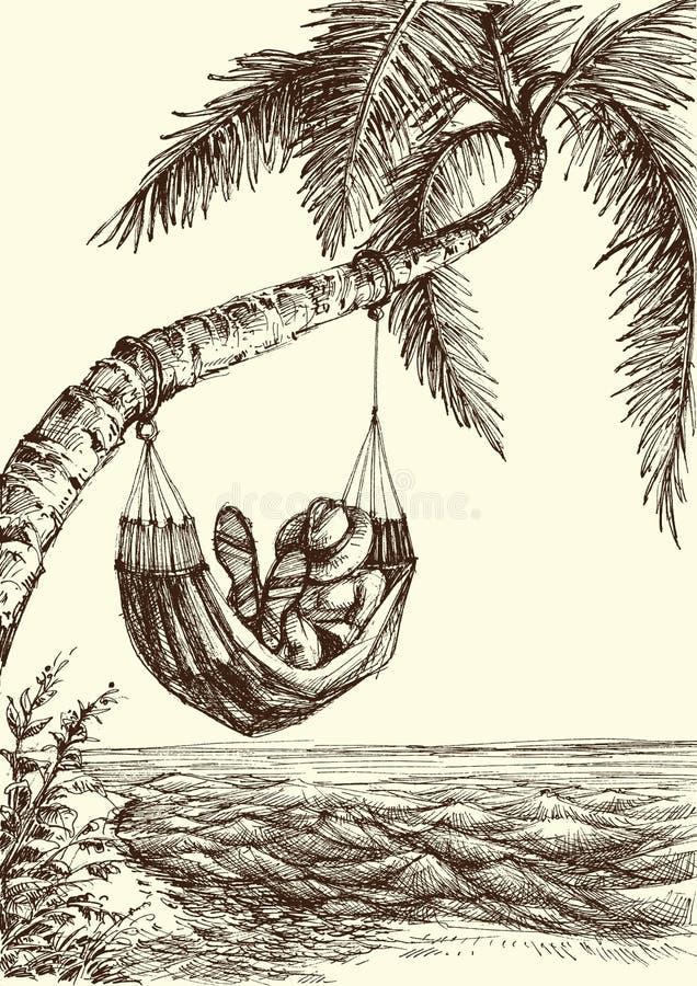 Strandplatsillustration royaltyfri illustrationer