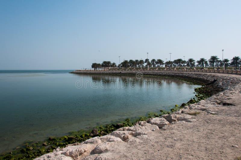 Strandpromenad i Al Khobar, Saudiarabien royaltyfria foton
