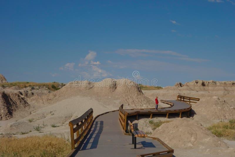 Strandpromenad i Badlands nationalpark, South Dakota. royaltyfria foton