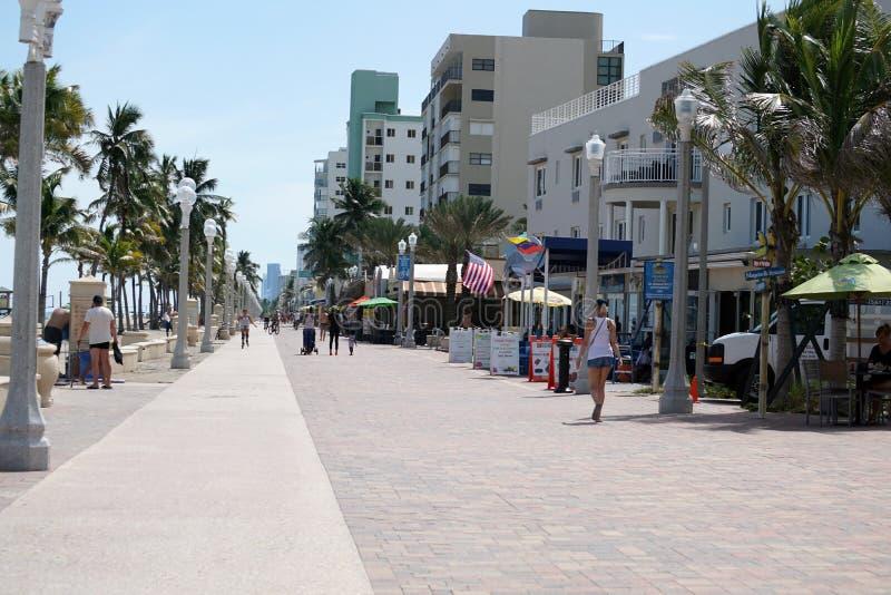 Strandpromenad på Dania Beach, i Fort Lauderdale, Florida arkivfoton