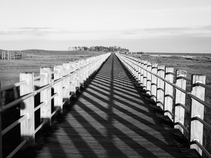 Strandpromenad perspektiv med att försvinna punkt som leder linjer och skuggamodellen royaltyfria foton