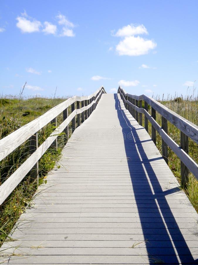 Strandpromenad som är trä, konstruktion, struktur, offentligt strandtillträde, tillträde, strandtillträde, yttre banker, OBX, Nor arkivbilder
