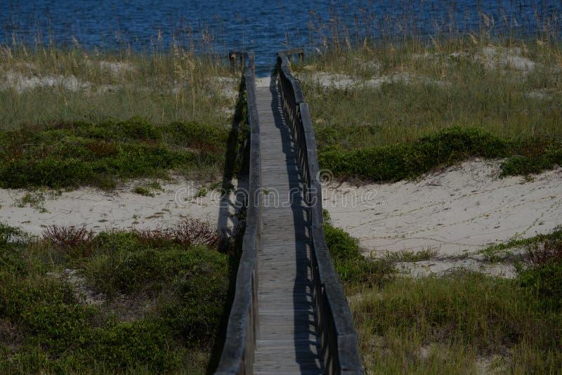 Strandpromenadblytaket från säkerheten av högre jordning till ingången till Atlanticet Ocean arkivfoton