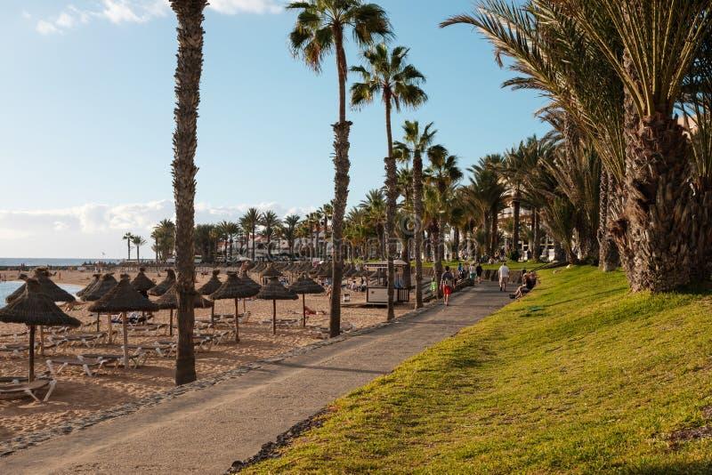 Strandpromenadengehweg, Bürgersteig nahe Strand, Playa De Las Amer stockfotografie