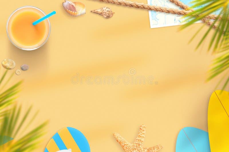 Strandsandzusammensetzung Sommerzusammensetzung mit freiem Raum in der Mitte stockbild