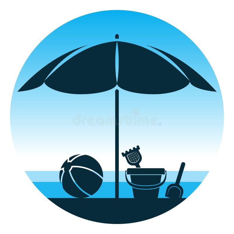 Strandschirm und Spielwaren vektor abbildung