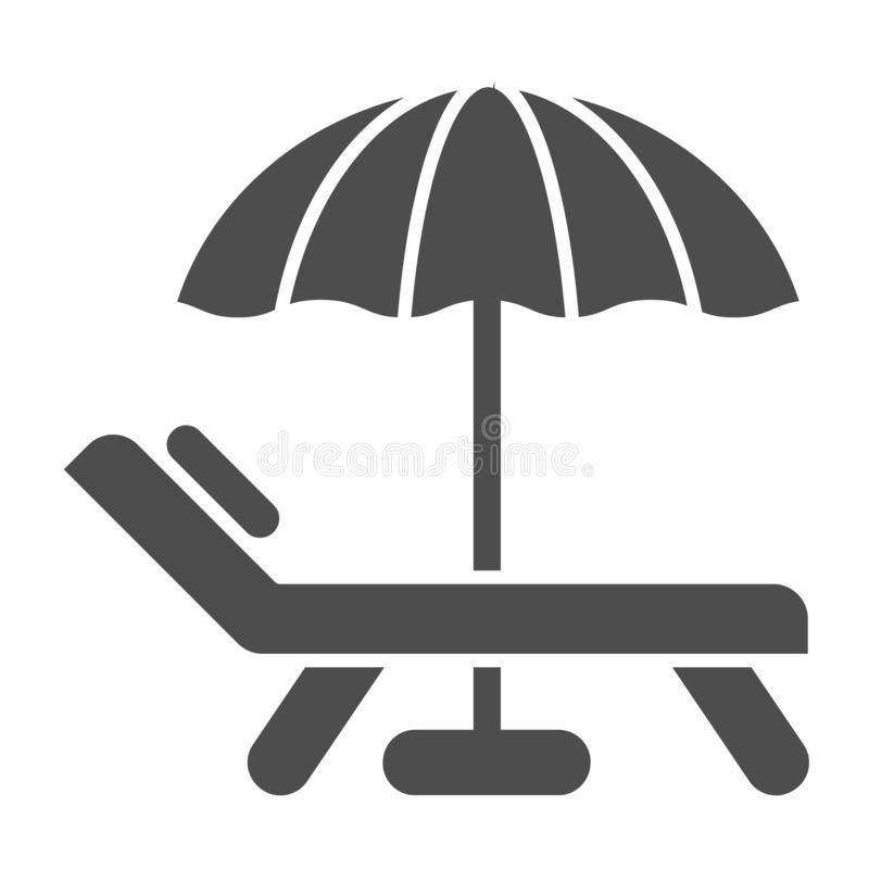 Strandschirm- und Stuhlk?rperikone Ferienvektorillustration lokalisiert auf Wei? Reise Glyph-Artentwurf, entworfen stock abbildung