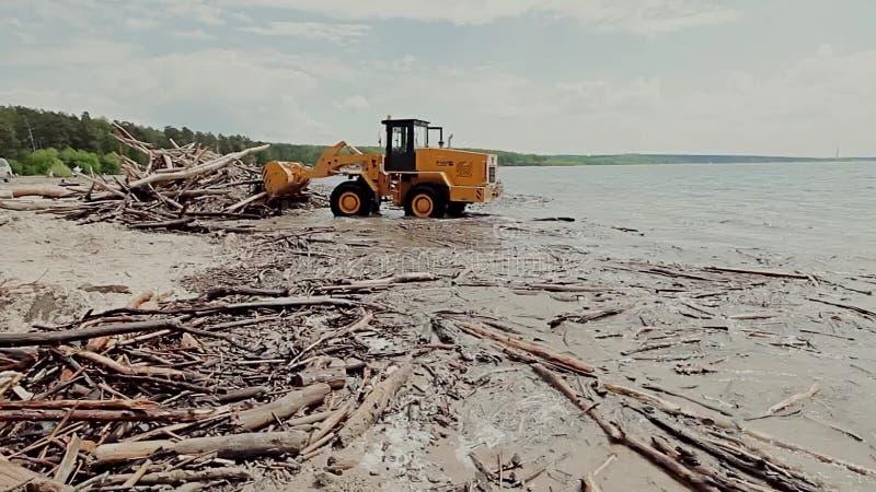 Strandschoonmaakbeurt stock video