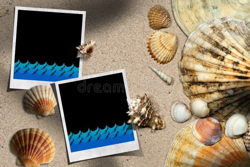 Strandsemester - snäckskal och ögonblickfoto royaltyfri illustrationer