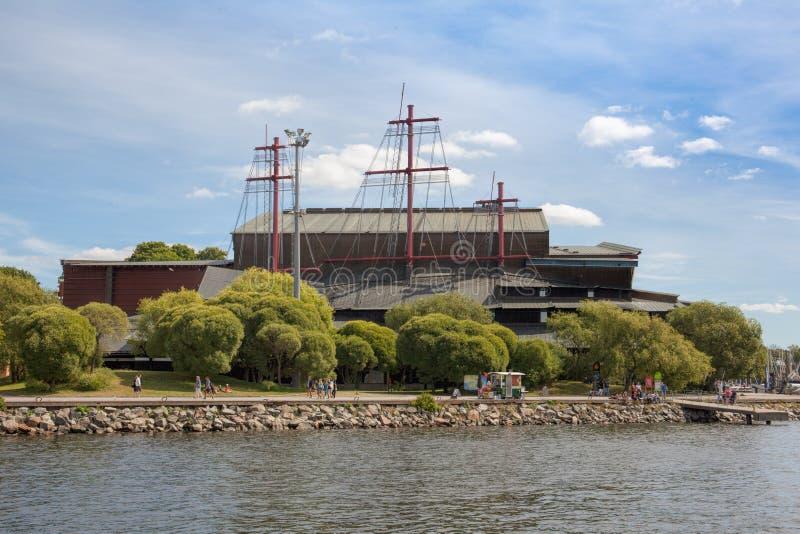 Strandsikt av Vasa museum, Stockholm arkivfoton