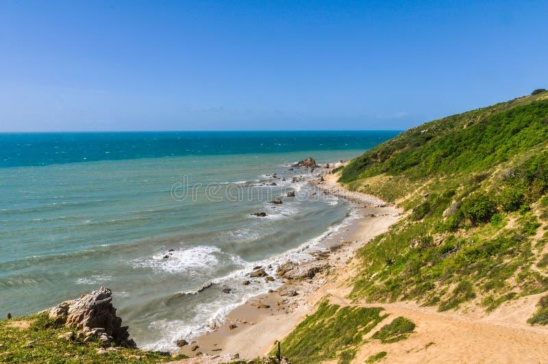 Strandsikt i Jericoacoara, Brasilien arkivfoton