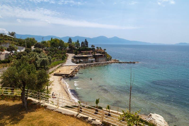 Strandsikt i sommar fotografering för bildbyråer