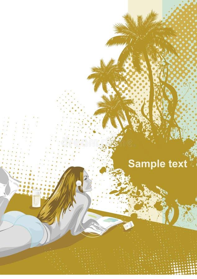 strandskönhetflicka vektor illustrationer