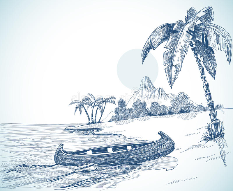 Strandskizze lizenzfreie abbildung