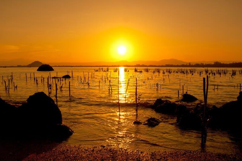 Strandsolnedgång med musslalantgården arkivbild