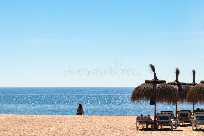Strandsommarbakgrund Sandig strand med soldagdrivare och paraplyer på Costa del Sol, Spanien Mall för semesterannonsering arkivbild