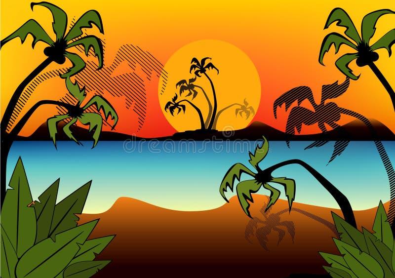strandsommarsolnedgång vektor illustrationer