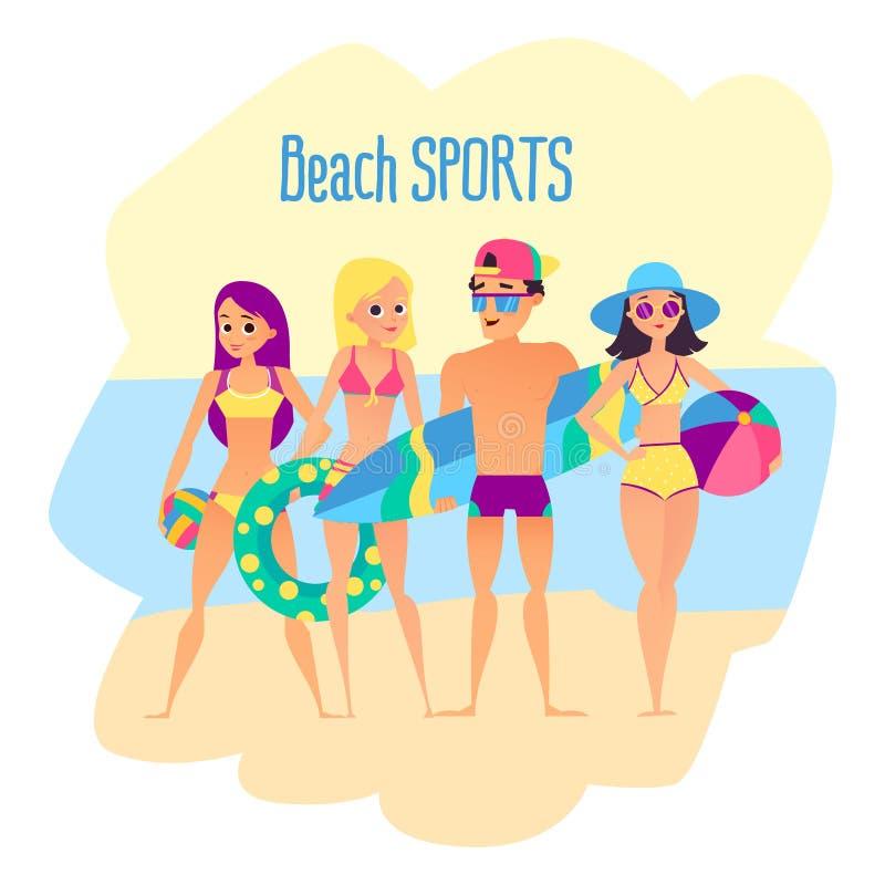 Strandsporten Vier jonge mensen op het strand stock illustratie