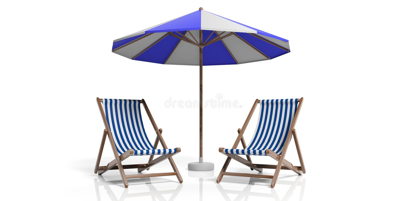 Strandstolar och paraply på vit bakgrund illustration 3d stock illustrationer