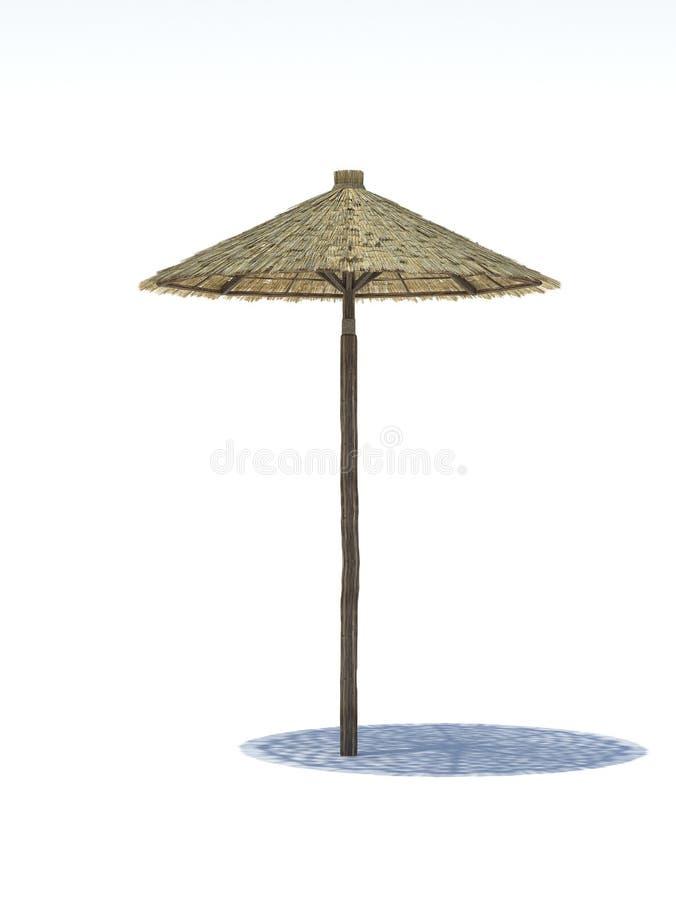 Strandstrohregenschirm auf einem weißen Hintergrund stockfoto