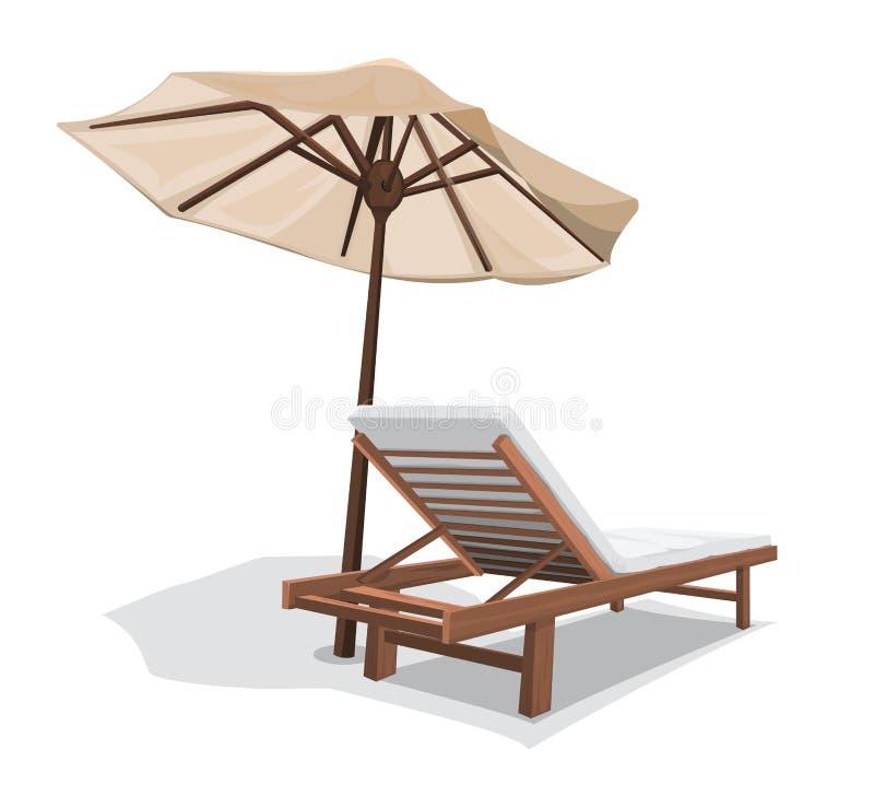 Strandstuhl mit Regenschirm stock abbildung