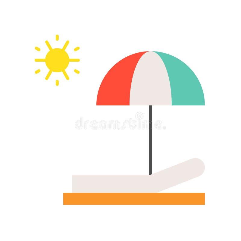 Strandstuhl, Regenschirm und Sonne, flache Ikone des Sonnenbades stock abbildung